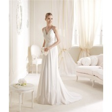 Graceful A Line V Neck Sheer Back Chiffon Beaded Destination Wedding Dress