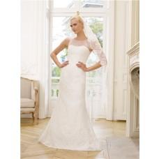 Graceful Trumpet Mermaid Illusion Neckline Keyhole Open Back Lace Wedding Dress