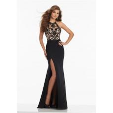 Halter High Slit Long Black Jersey Tulle Beaded Prom Dress Criss Cross Straps