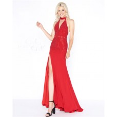 Halter Low Back Side Slit Red Jersey Beaded Evening Prom Dress With Belt