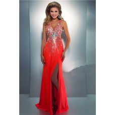 Halter V Neck Side Cut Out Long Neon Coral Chiffon Beaded Sequin Prom Dress