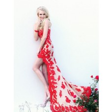 High Low Strapless Short Front Long Back Red Lace Prom Dress With Train
