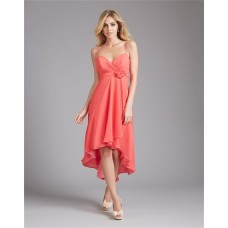 High Low Sweetheart Coral Chiffon Wedding Guest Bridesmaid Dress With Flower Sash Straps