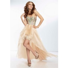 High Low Sweetheart Neckline Nude Champagne Organza Corset Beaded Prom Dress