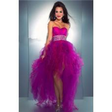 High Low Sweetheart Purple Tulle Ruffle Beaded Sweet Sixteen Prom Dress