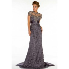 High Neck Cap Sleeve Backless Long Charcoal Grey Lace Beaded Evening Dress With Train