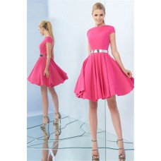 High Neck Cap Sleeve Open Back Short Watermelon Satin Prom Dress Metal Belt