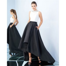 High Neck Full Back Black And White Satin Evening Prom Dress With Pockets