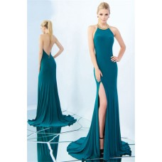 High Neck Halter Beaded Trim Backless Side Slit Teal Jersey Evening Prom Dress