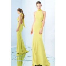 High Neck Halter Open Back Side Cut Out Yellow Jersey Evening Dress