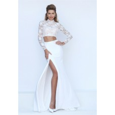 High Neck Open Back Long Sleeve Two Piece White Lace Evening Prom Dress With Slit