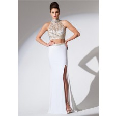 High Neck Two Piece White Chiffon Beaded Sequin Long Evening Prom Dress With Slit