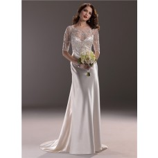 Hollywood Glamour Sheath Sweetheart Satin Wedding Dress With Short Sleeve Jacket