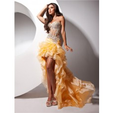 Hot Fashion Sweetheart High Low Orange Organza Sheer Corset Prom Dress With Beading Ruffles