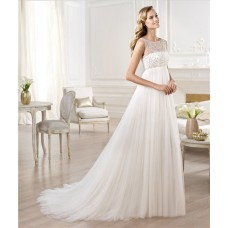 Illusion Bateau Neckline Empire Waist Tulle Beaded maternity?Wedding Dress