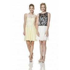 Illusion Boat Neckline Short Black Lace White Chiffon Graduation Party Bridesmaid Dress