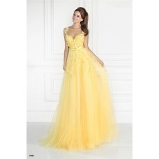 Illusion Neckline Sleeveless Long Yellow Tulle Beaded Prom Dress With Flowers