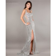 Illusion Tulle Back High Slit Silver Sequin Beaded Prom Dress With Straps