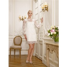 Informal Boat Neckline Long Sleeve Vintage Lace Mini Wedding Dress