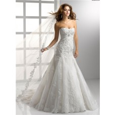 Latest Trumpet/ Mermaid Empire Strapless Lace Wedding Dress With Crystal Sequins