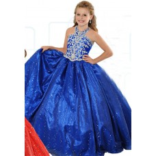 Lovely Ball Gown Halter Royal Blue Organza Beaded Girl Party Prom Dress