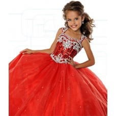 Lovely Ball Gown Red Tulle Beaded Girl Pageant Prom Dress