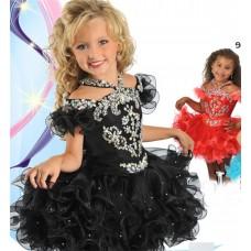 Lovely Halter Short Black Organza Ruffle Beaded Tutu Girl Pageant Dress