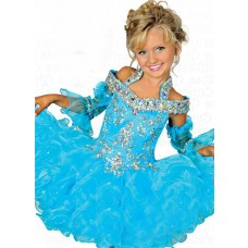 Lovely Puffy Short Turquoise Organza Ruffle Beaded Girl Pageant Prom Dress