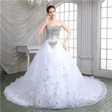 Luxury Ball Gown Corset Back Heavy Beaded Crystal Wedding Dress With Long Train