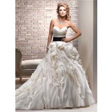 Luxury Ball Gown Sweetheart Cream Ivory Organza Layered Wedding Dress With Black Sash