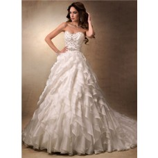 Luxury Ball Gown Sweetheart Ivory Satin Organza Ruffle Wedding Dress With Crystal