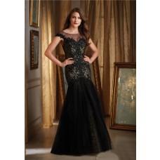 Mermaid Bateau Illusion Neckline Cap Sleeve Black Tulle Lace Beaded Evening Prom Dress