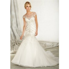 Mermaid Bateau Illusion Neckline Cap Sleeve V Back Organza Lace Beaded Wedding Dress