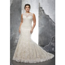 Mermaid Bateau Neckline Sleeve Champagne Satin Lace Plus Size Wedding Dress