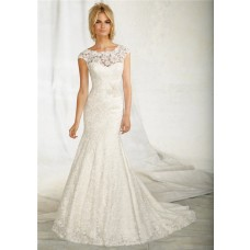 Mermaid Bateau See Through Neckline Cap Sleeve V Back Lace Wedding Dress With Belt