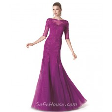 Mermaid Boat Neck Long Purple Tulle Lace Evening Prom Dress With Sleeves