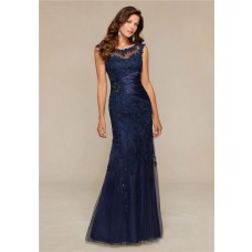 Mermaid Boat Neck Navy Blue Tulle Lace Beaded Special Occasion Evening Dress