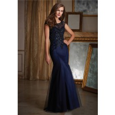 Mermaid Boat Neck Open Back Navy Blue Tulle Beaded Evening Dress With Cap Sleeves
