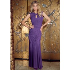 Mermaid Cap Sleeve Backless Purple Chiffon Ruched Formal Occasion Evening Dress