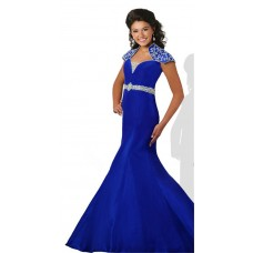 Mermaid Cap Sleeve Royal Blue Taffeta Beaded Teen Prom Dress With Collar