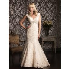 Mermaid Cap Sleeve V Neck Champagne Lace Wedding Dress Empire Waist