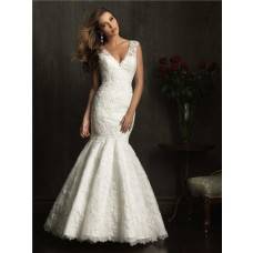 Mermaid Cap Sleeve V Neck Lace Wedding Dress With Low Back Buttons