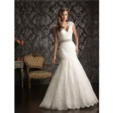 Mermaid Cap Sleeve V Neck Vintage Lace Beading Wedding Dress With Low Back