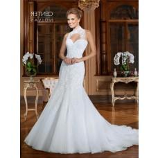 Mermaid Detachable High Neck Organza Lace Beaded Wedding Dress