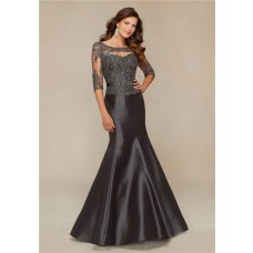 Mermaid Front Cut Out Charcoal Grey Satin Lace Beaded Evening Prom Dress With Sleeves
