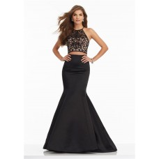 Mermaid Halter Two Piece Black Satin Tulle Embroidery Prom Dress