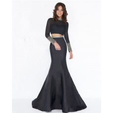Mermaid High Neck Beaded Collar Long Sleeve Black Satin Evening Prom Dress