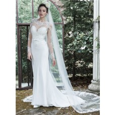 Mermaid High Neck Long Sleeve See Through Tulle Lace Wedding Dress With Belt