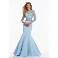 Mermaid High Neck Open Back Long Sleeve Light Sky Blue Satin Lace Prom Dress