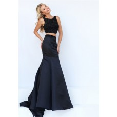 Mermaid High Neck Two Piece Black Satin Beaded Prom Dress
